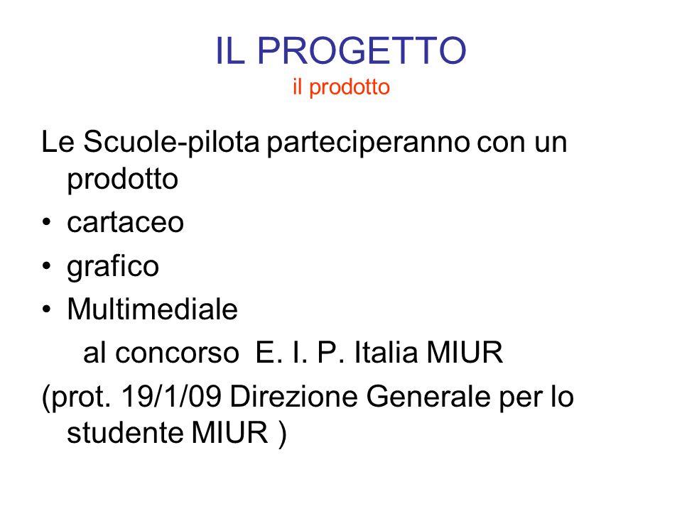 IL PROGETTO il prodotto Le Scuole-pilota parteciperanno con un prodotto cartaceo grafico Multimediale al concorso E. I. P. Italia MIUR (prot. 19/1/09
