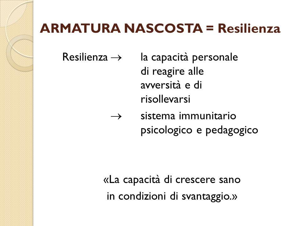 ARMATURA NASCOSTA = Resilienza Resilienza la capacità personale di reagire alle avversità e di risollevarsi sistema immunitario psicologico e pedagogi