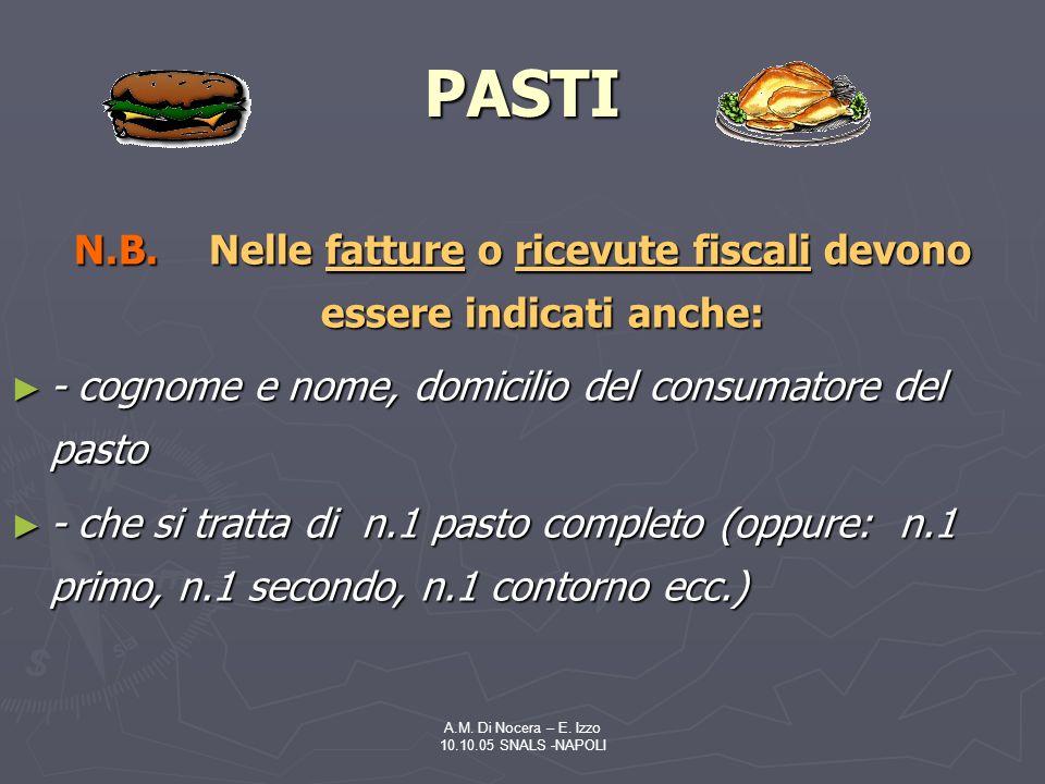 A.M.Di Nocera – E. Izzo 10.10.05 SNALS -NAPOLI PASTI N.B.