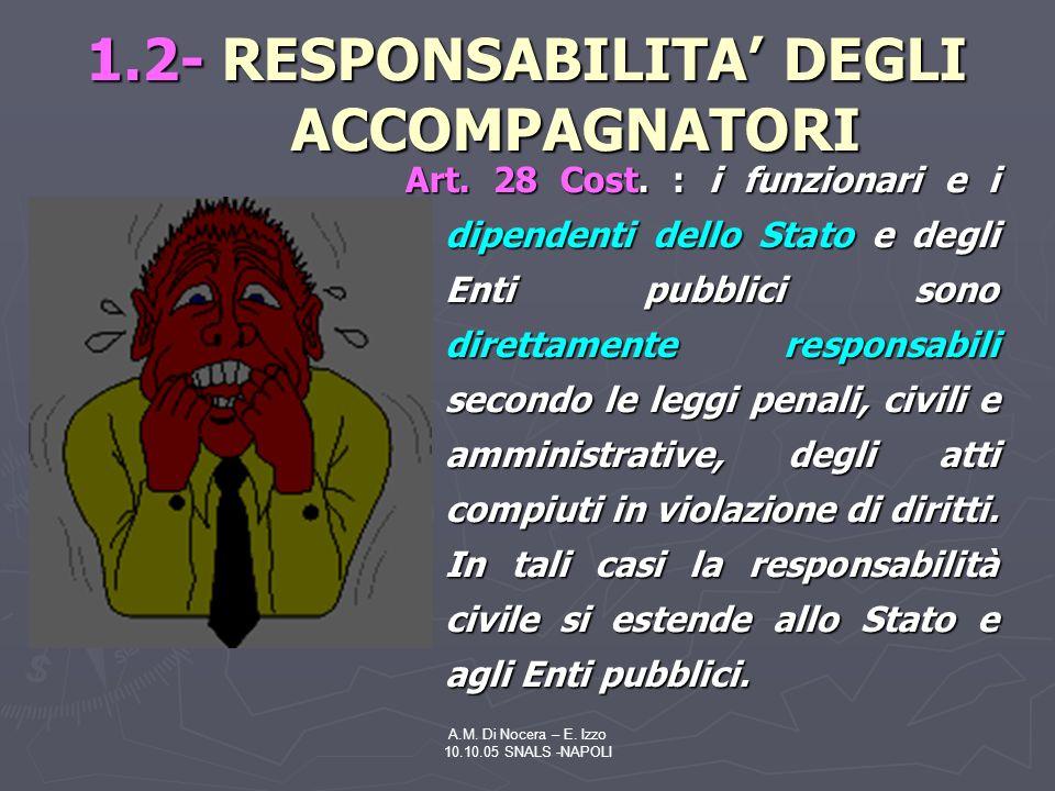 A.M.Di Nocera – E. Izzo 10.10.05 SNALS -NAPOLI 1.2- RESPONSABILITA DEGLI ACCOMPAGNATORI Art.