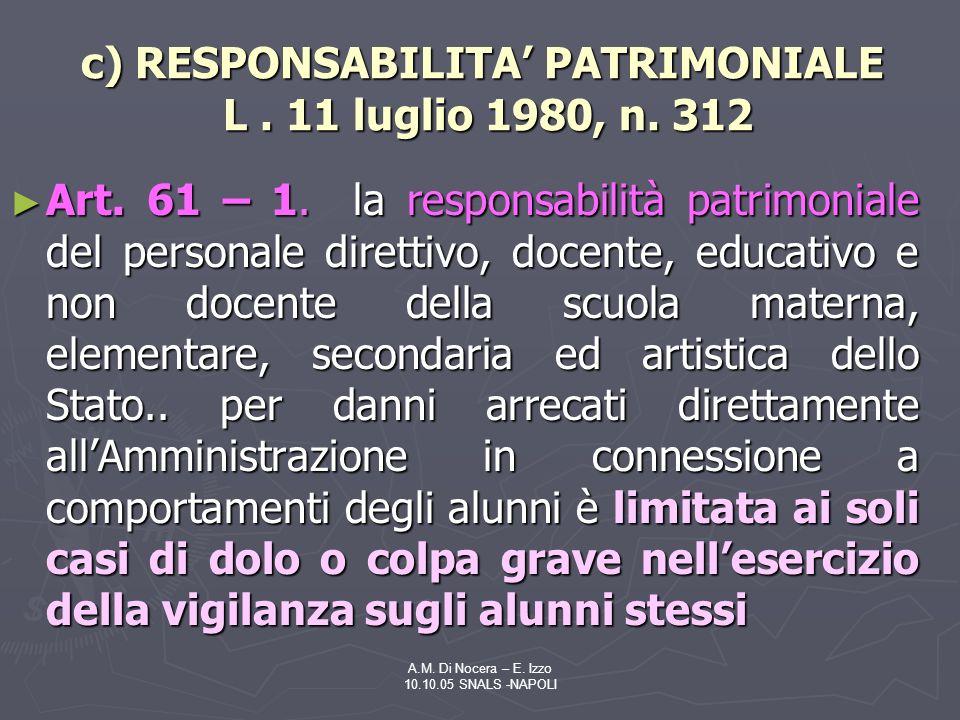 A.M.Di Nocera – E. Izzo 10.10.05 SNALS -NAPOLI c) RESPONSABILITA PATRIMONIALE L.