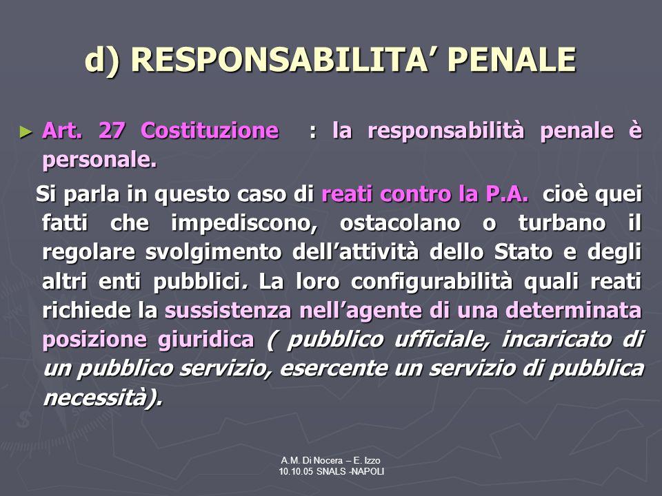 A.M.Di Nocera – E. Izzo 10.10.05 SNALS -NAPOLI d) RESPONSABILITA PENALE Art.