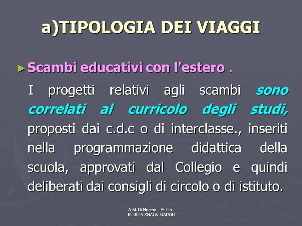 A.M.Di Nocera – E. Izzo 10.10.05 SNALS -NAPOLI Scambi educativi con lestero.