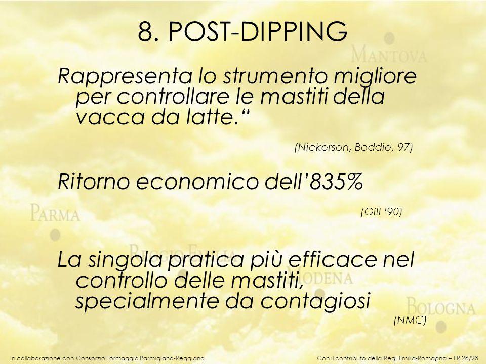 In collaborazione con Consorzio Formaggio Parmigiano-Reggiano 8. POST-DIPPING Rappresenta lo strumento migliore per controllare le mastiti della vacca