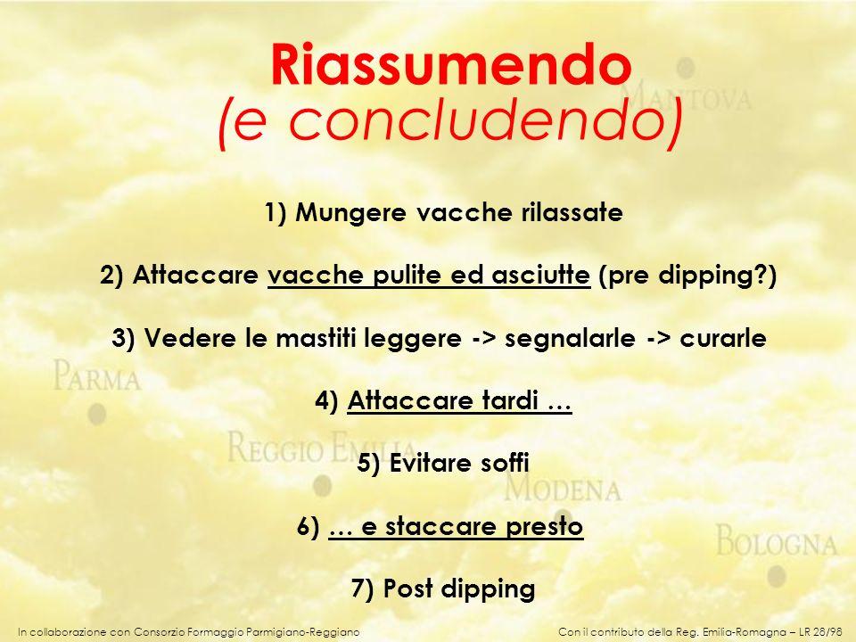 In collaborazione con Consorzio Formaggio Parmigiano-Reggiano 1) Mungere vacche rilassate 2) Attaccare vacche pulite ed asciutte (pre dipping?) 3) Ved