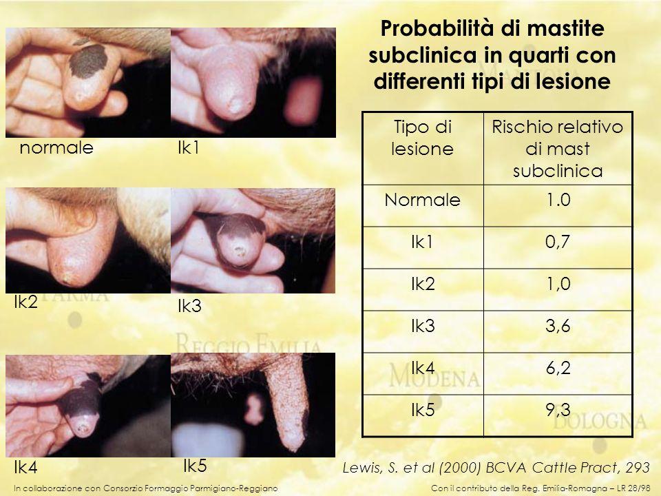 In collaborazione con Consorzio Formaggio Parmigiano-Reggiano Tipo di lesione Rischio relativo di mast subclinica Normale1.0 Ik10,7 Ik21,0 Ik33,6 Ik46