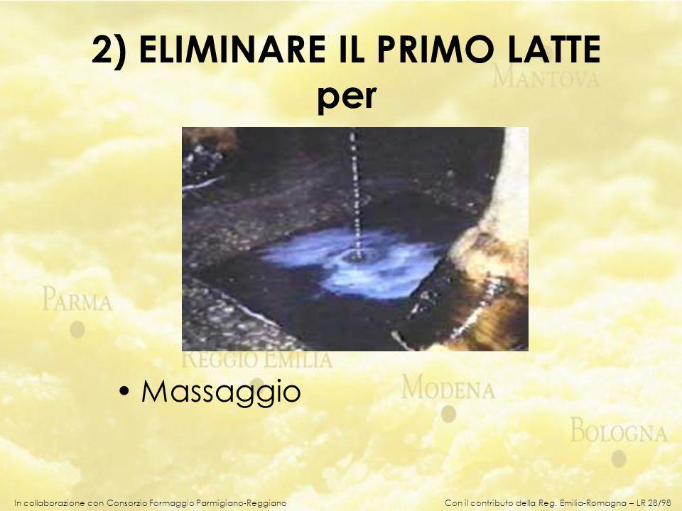 In collaborazione con Consorzio Formaggio Parmigiano-Reggiano 2) ELIMINARE IL PRIMO LATTE per Massaggio Con il contributo della Reg. Emilia-Romagna –