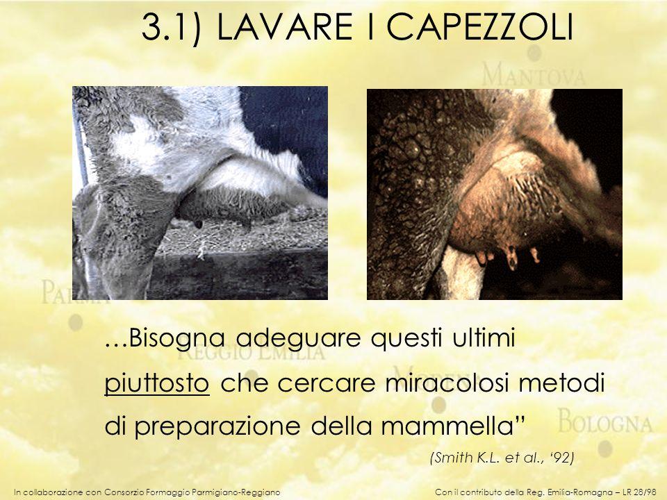 In collaborazione con Consorzio Formaggio Parmigiano-Reggiano 3.1) LAVARE I CAPEZZOLI …Bisogna adeguare questi ultimi piuttosto che cercare miracolosi