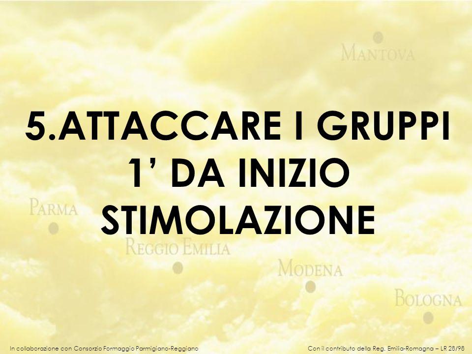 In collaborazione con Consorzio Formaggio Parmigiano-Reggiano 5.ATTACCARE I GRUPPI 1 DA INIZIO STIMOLAZIONE Con il contributo della Reg. Emilia-Romagn