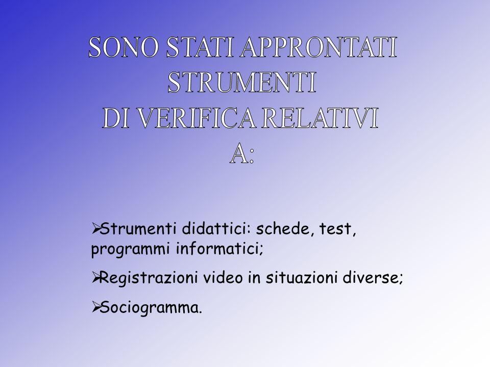 Strumenti didattici: schede, test, programmi informatici; Registrazioni video in situazioni diverse; Sociogramma.