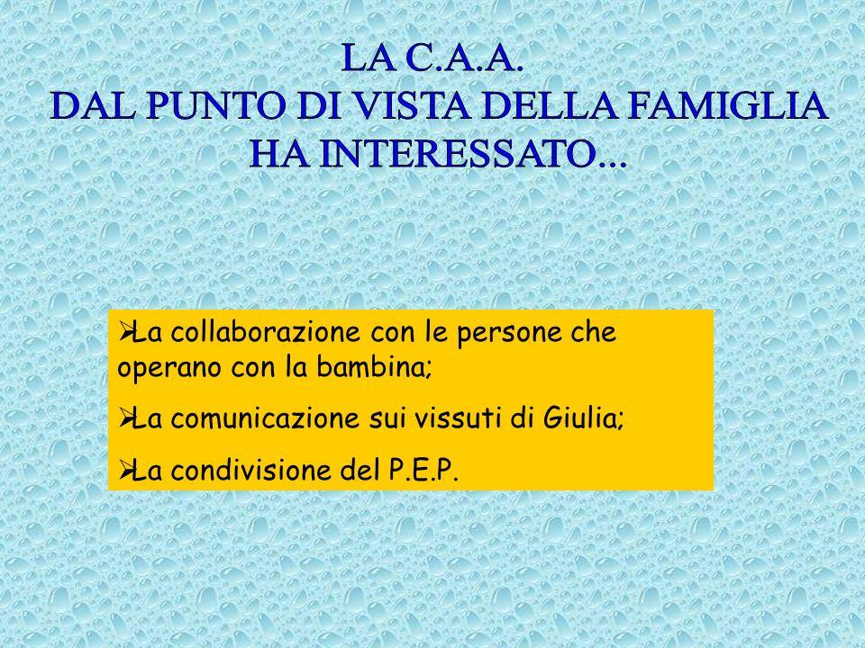 La collaborazione con le persone che operano con la bambina; La comunicazione sui vissuti di Giulia; La condivisione del P.E.P.