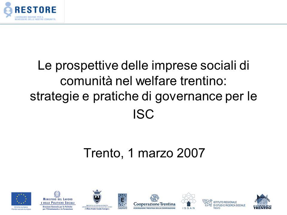 Le prospettive delle imprese sociali di comunità nel welfare trentino: strategie e pratiche di governance per le ISC Trento, 1 marzo 2007