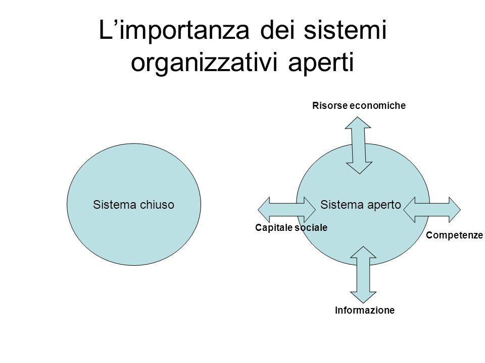 Limportanza dei sistemi organizzativi aperti Sistema apertoSistema chiuso Capitale sociale Informazione Risorse economiche Competenze