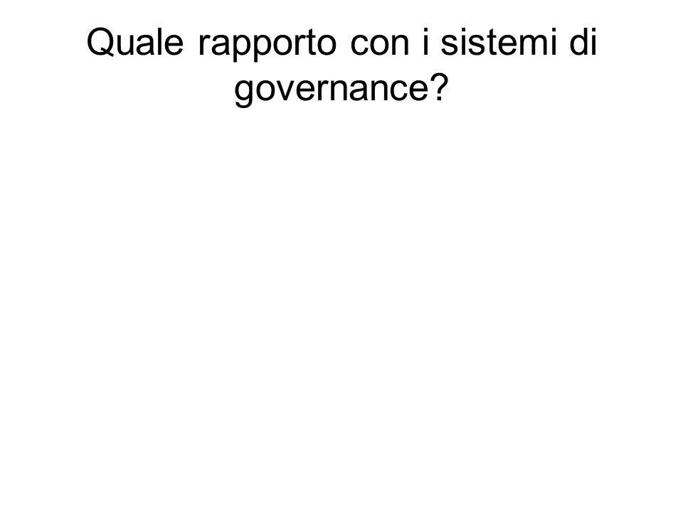 Quale rapporto con i sistemi di governance?