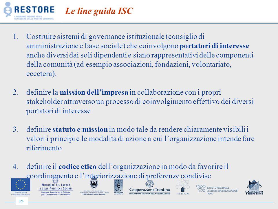 15 Le line guida ISC 1.Costruire sistemi di governance istituzionale (consiglio di amministrazione e base sociale) che coinvolgono portatori di interesse anche diversi dai soli dipendenti e siano rappresentativi delle componenti della comunità (ad esempio associazioni, fondazioni, volontariato, eccetera).