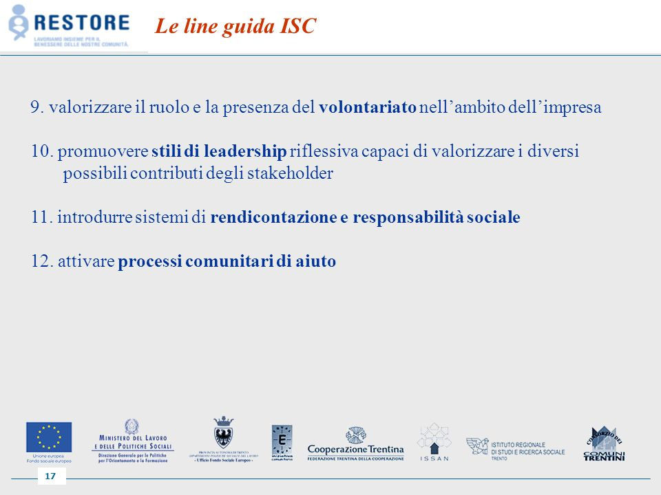 17 Le line guida ISC 9.