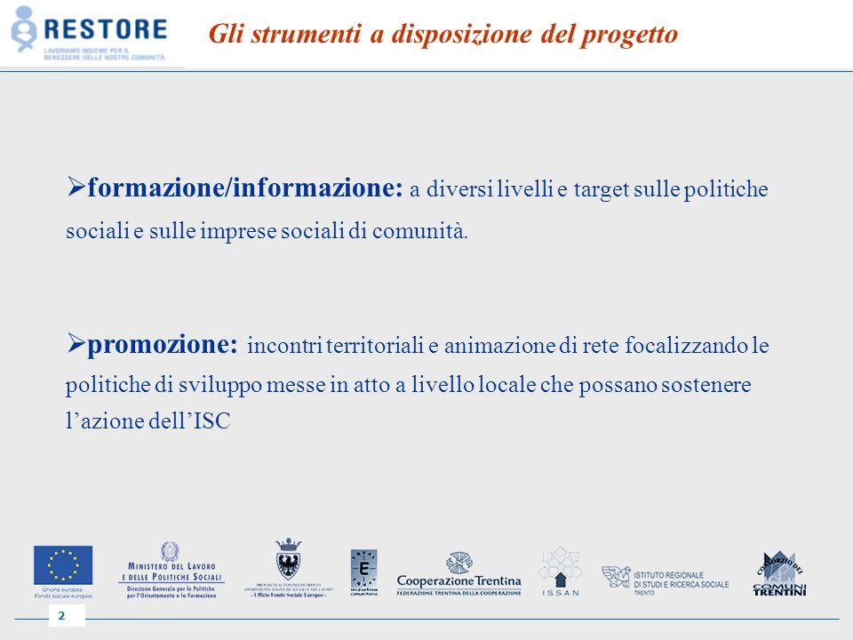 2 Gli strumenti a disposizione del progetto formazione/informazione: a diversi livelli e target sulle politiche sociali e sulle imprese sociali di comunità.