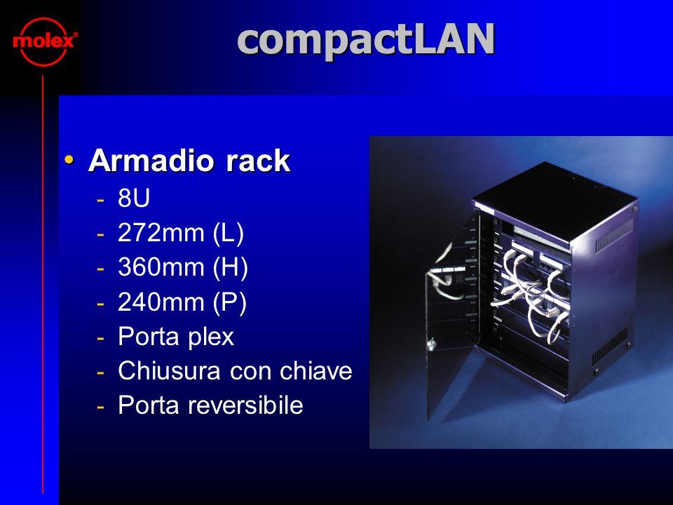 compactLAN Armadio rack Armadio rack  8U  272mm (L)  360mm (H)  240mm (P)  Porta plex  Chiusura con chiave  Porta reversibile