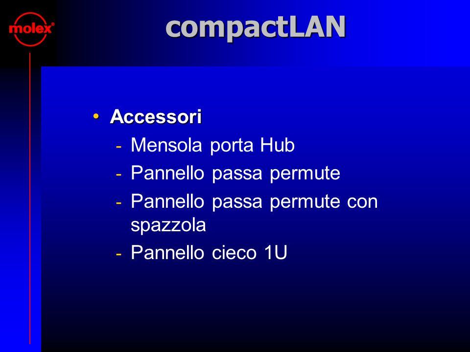 compactLAN Accessori Accessori  Mensola porta Hub  Pannello passa permute  Pannello passa permute con spazzola  Pannello cieco 1U