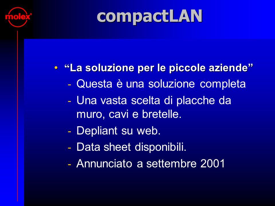 compactLAN La soluzione per le piccole aziende La soluzione per le piccole aziende  Questa è una soluzione completa  Una vasta scelta di placche da muro, cavi e bretelle.