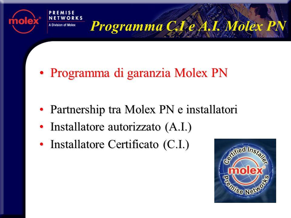 Linstallatore Molex PN:Linstallatore Molex PN: Fà parte di un ristretto cerchioFà parte di un ristretto cerchio Il numero è limitato per nostra sceltaIl numero è limitato per nostra scelta La relazione tra linstallatore e Molex PN è contrattuale con validità annuaLa relazione tra linstallatore e Molex PN è contrattuale con validità annua Due livelli di installatore Molex PNDue livelli di installatore Molex PN A.I.