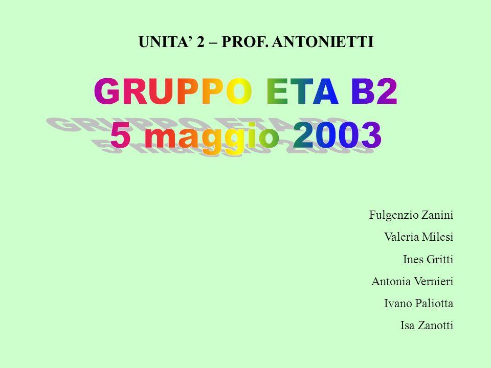 Fulgenzio Zanini Valeria Milesi Ines Gritti Antonia Vernieri Ivano Paliotta Isa Zanotti UNITA 2 – PROF. ANTONIETTI