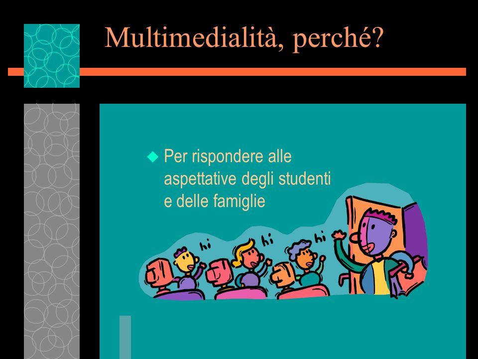 Multimedialità, perché? u Per rispondere alle aspettative degli studenti e delle famiglie