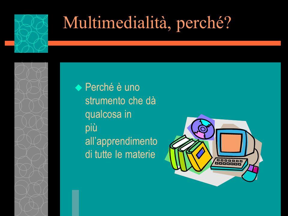 Multimedialità, perché? u Perché è uno strumento che dà qualcosa in più allapprendimento di tutte le materie