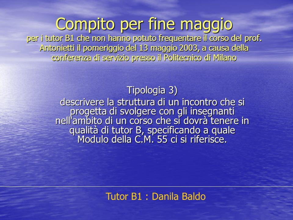 Compito per fine maggio per i tutor B1 che non hanno potuto frequentare il corso del prof. Antonietti il pomeriggio del 13 maggio 2003, a causa della