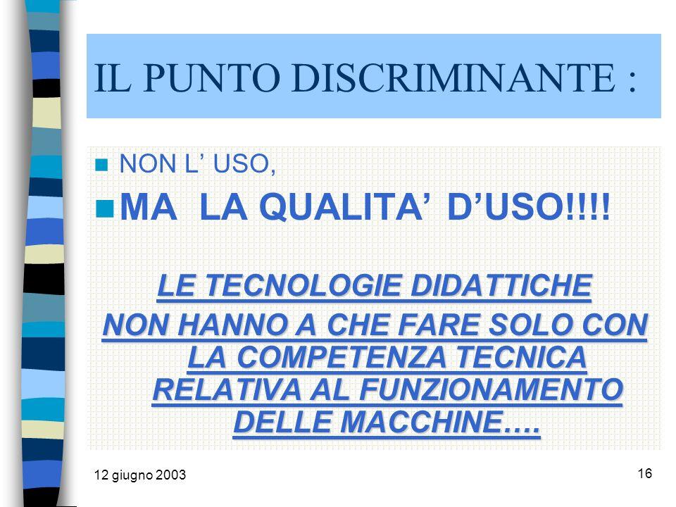 12 giugno 2003 16 IL PUNTO DISCRIMINANTE : NON L USO, MA LA QUALITA DUSO!!!.