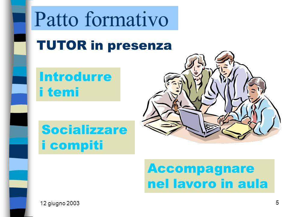 12 giugno 2003 5 TUTOR in presenza Introdurre i temi Socializzare i compiti Accompagnare nel lavoro in aula Patto formativo