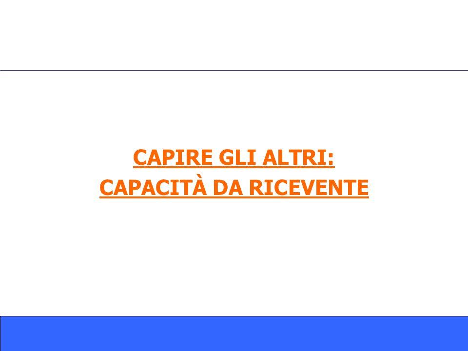 CAPIRE GLI ALTRI: CAPACITÀ DA RICEVENTE