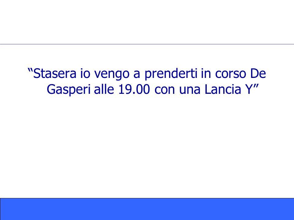 Stasera io vengo a prenderti in corso De Gasperi alle 19.00 con una Lancia Y