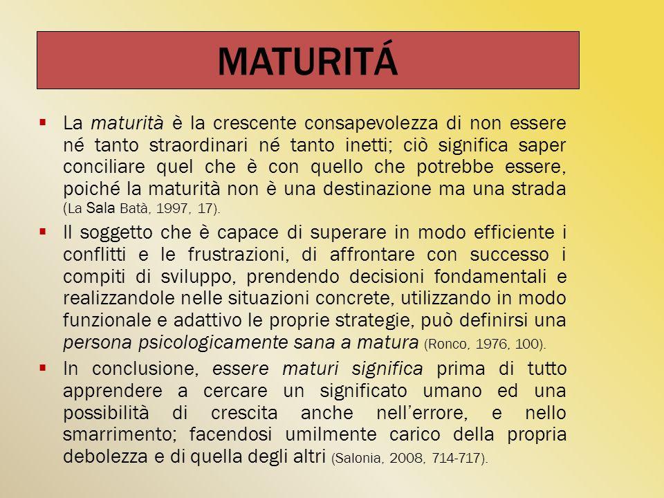 La maturità è la crescente consapevolezza di non essere né tanto straordinari né tanto inetti; ciò significa saper conciliare quel che è con quello ch