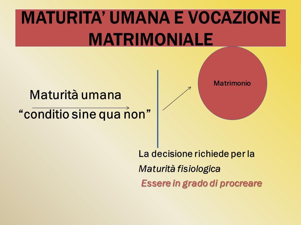 MATURITA UMANA E VOCAZIONE MATRIMONIALE Maturità umana conditio sine qua non La decisione richiede per la Maturità fisiologica Essere in grado di proc