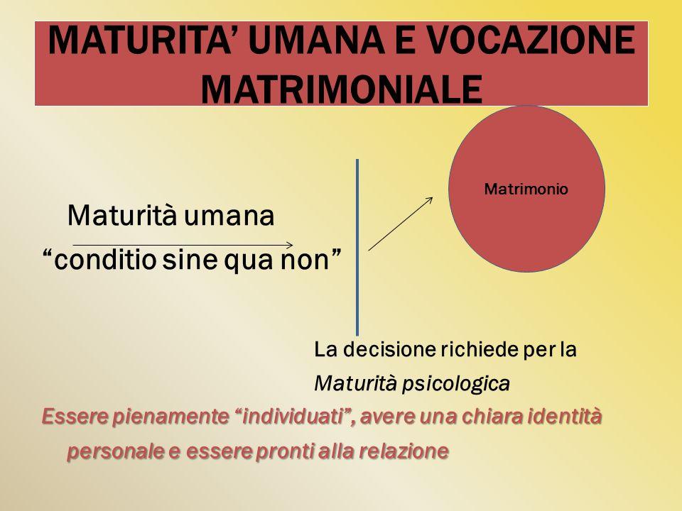MATURITA UMANA E VOCAZIONE MATRIMONIALE Maturità umana conditio sine qua non La decisione richiede per la Maturità psicologica Essere pienamente indiv