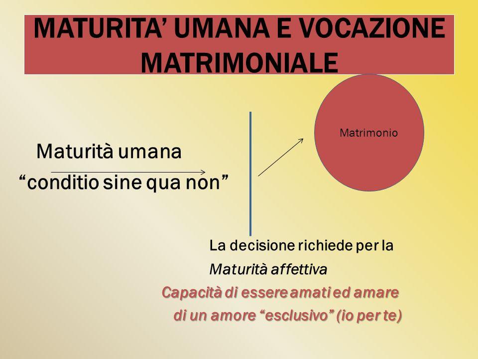 MATURITA UMANA E VOCAZIONE MATRIMONIALE Maturità umana conditio sine qua non La decisione richiede per la Maturità affettiva Capacità di essere amati