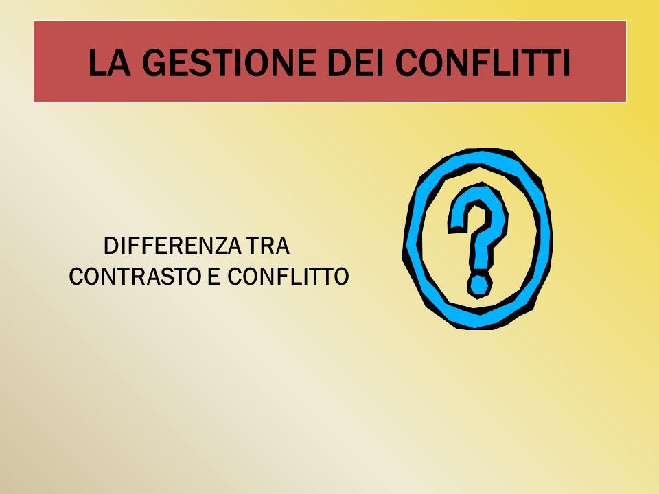 LA GESTIONE DEI CONFLITTI DIFFERENZA TRA CONTRASTO E CONFLITTO