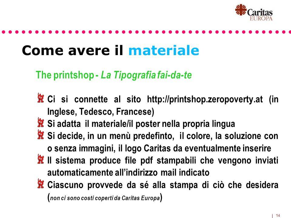 14 Come avere il materiale The printshop - La Tipografia fai-da-te Ci si connette al sito http://printshop.zeropoverty.at (in Inglese, Tedesco, France
