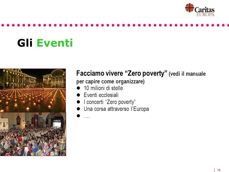 18 Gli Eventi Facciamo vivere Zero poverty (vedi il manuale per capire come organizzare) 10 milioni di stelle Eventi ecclesiali I concerti Zero povert