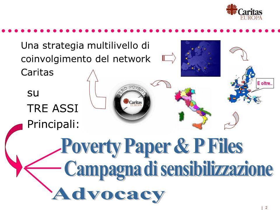 2 Una strategia multilivello di coinvolgimento del network Caritas su TRE ASSI Principali: E oltre..