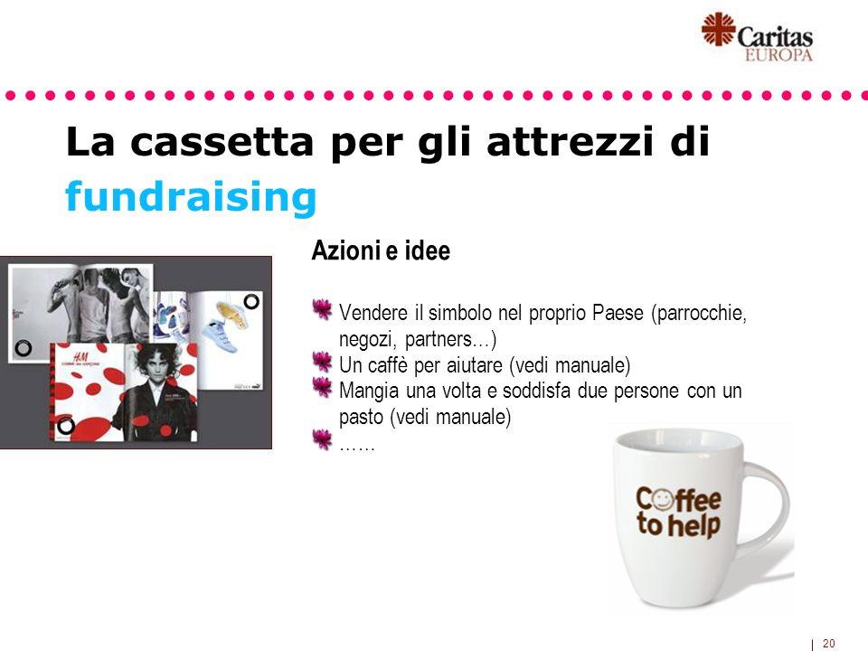 20 La cassetta per gli attrezzi di fundraising Azioni e idee Vendere il simbolo nel proprio Paese (parrocchie, negozi, partners…) Un caffè per aiutare