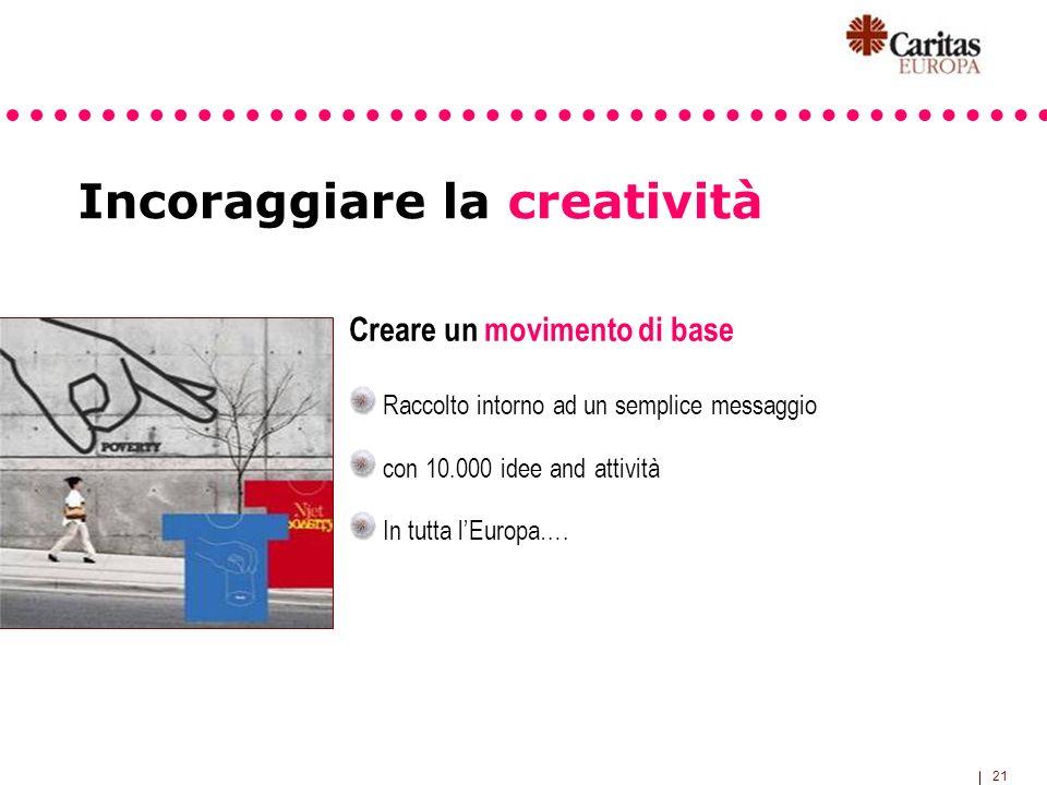 21 Incoraggiare la creatività Creare un movimento di base Raccolto intorno ad un semplice messaggio con 10.000 idee and attività In tutta lEuropa….