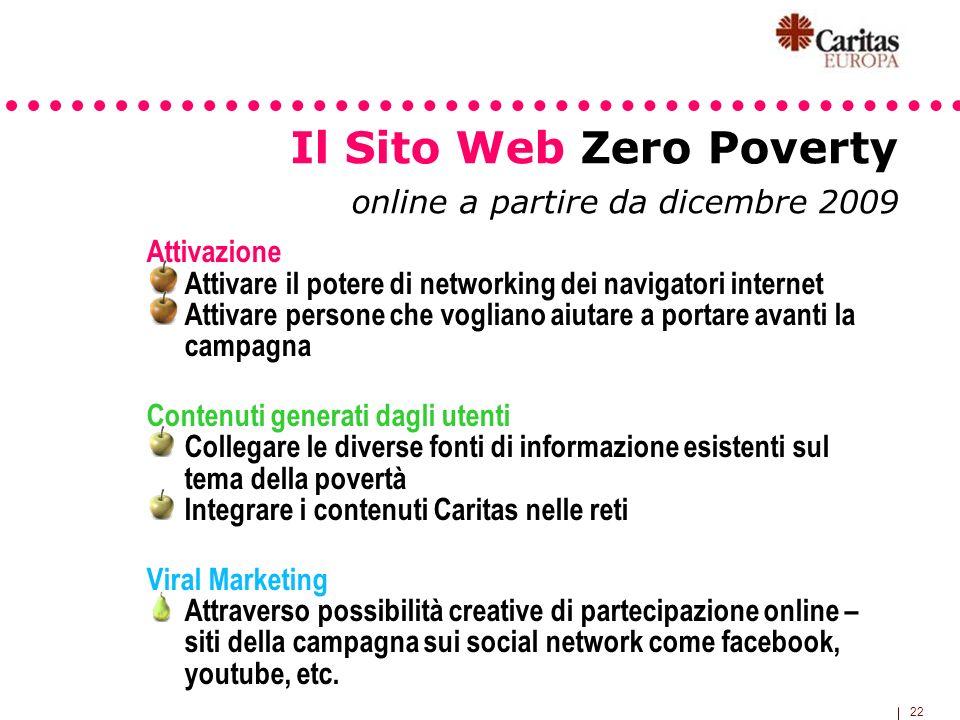 22 Il Sito Web Zero Poverty online a partire da dicembre 2009 Attivazione Attivare il potere di networking dei navigatori internet Attivare persone ch