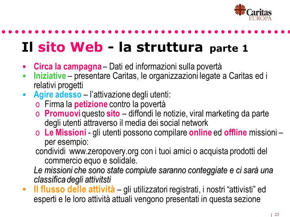 23 Il sito Web - la struttura parte 1 Circa la campagna – Dati ed informazioni sulla povertà Iniziative – presentare Caritas, le organizzazioni legate