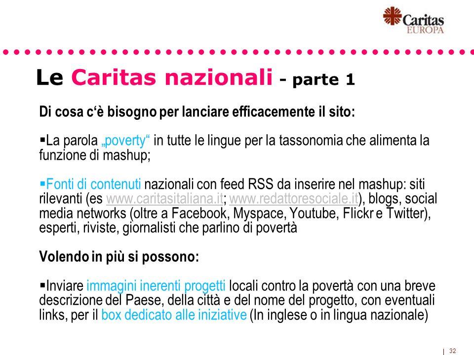 32 Le Caritas nazionali - parte 1 Di cosa cè bisogno per lanciare efficacemente il sito: La parola poverty in tutte le lingue per la tassonomia che al