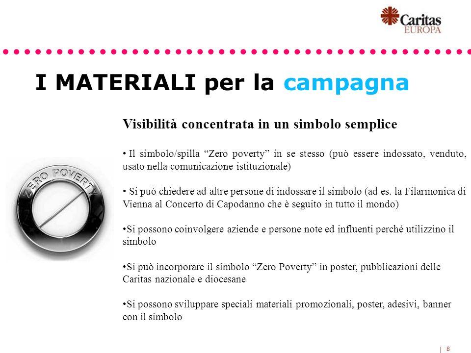 8 I MATERIALI per la campagna Visibilità concentrata in un simbolo semplice Il simbolo/spilla Zero poverty in se stesso (può essere indossato, venduto