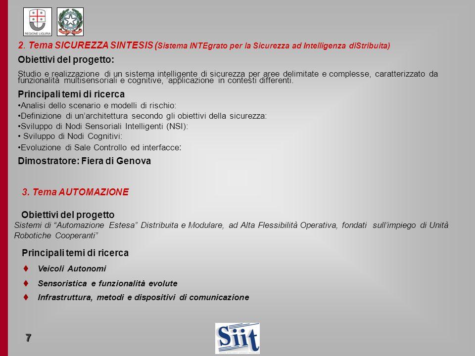 7 2. Tema SICUREZZA SINTESIS ( Sistema INTEgrato per la Sicurezza ad Intelligenza diStribuita) Obiettivi del progetto: Studio e realizzazione di un si
