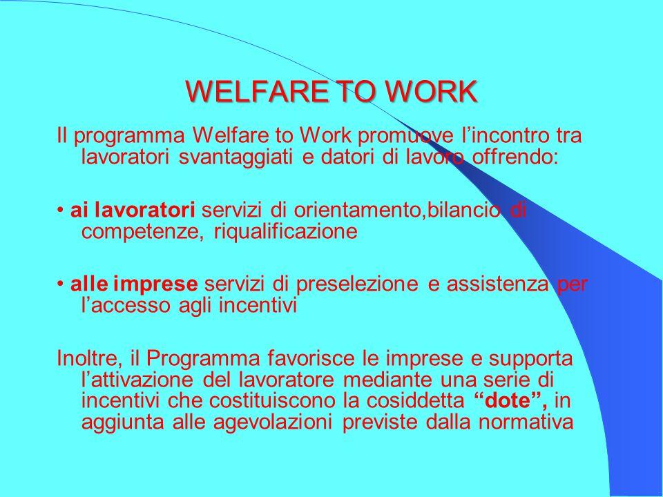 WELFARE TO WORK Welfare to Work è un progetto nazionale di politica attiva del lavoro, promosso dal Ministero del Lavoro e gestito in collaborazione con le Regioni e Italia Lavoro, in raccordo con le Province, finalizzato a sostenere il reinserimento lavorativo di soggetti svantaggiati nel mercato del lavoro.