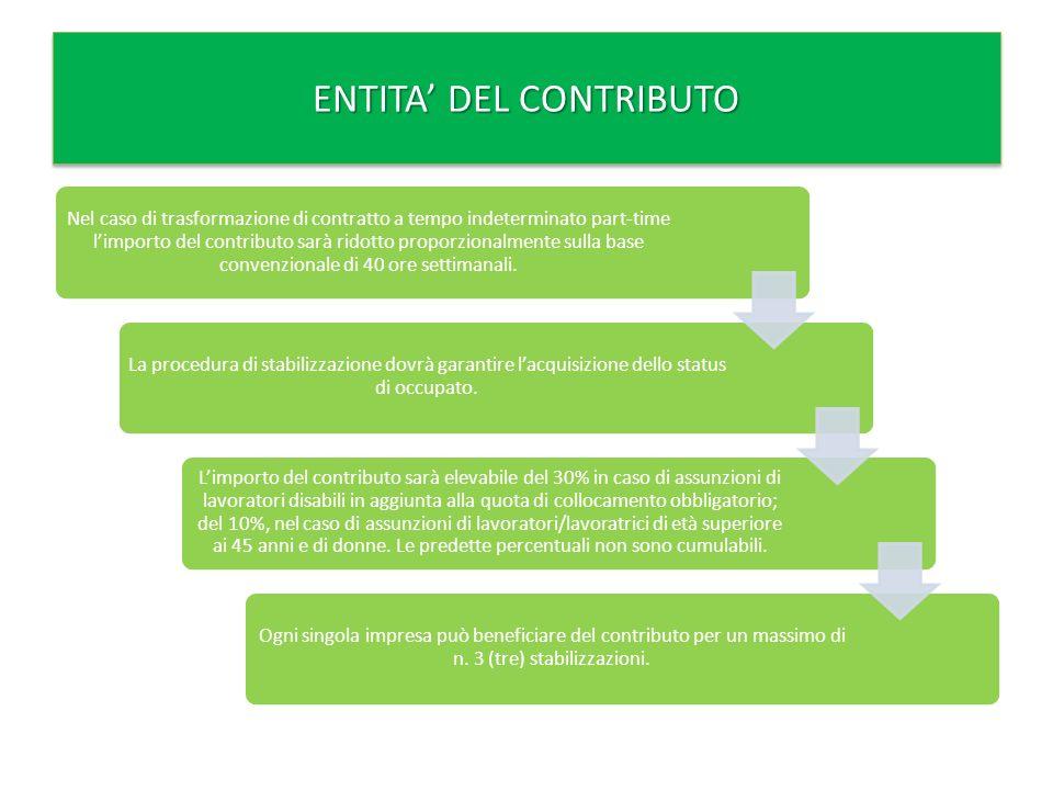 Nel caso di trasformazione di contratto a tempo indeterminato part-time limporto del contributo sarà ridotto proporzionalmente sulla base convenzionale di 40 ore settimanali.